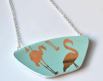 Broken China Jewelry Wide Necklace - Golden Teal Flamingo