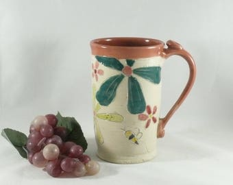 Handmade Pottery Mug, Gifts for Teachers, Save the Bees, Pencil Holder, ceramics and pottery, Tea Cup, Teacup, Beer Stein, Tankard, 843