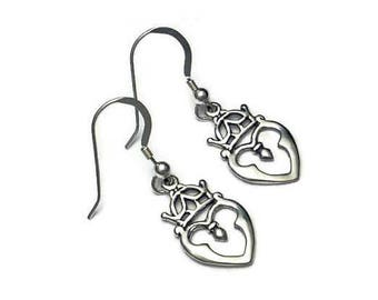 Scottish Luckenbooth Single Heart Earrings Sterling Silver Romantic Heritage