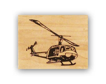 Huey Helicopter mounted rubber stamp, army chopper, military, troops, Crazy Mountain Stamps #4