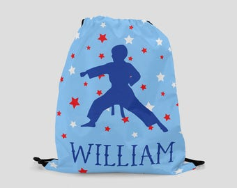 Karate Bag - Personalized Child's Drawstring Backpack - Sports Bag - Blue Karate Bag - Cinch Bag