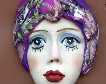 One of a Kind Polymer Clay  Detailed  Art Doll Face with hat Cab CNF 2