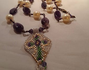 Purple Amethyst Stones with Pearls Cross Beadwork Pendant with Rosary Style Beaded Chain
