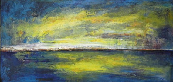 Abstract Art Deco Textured Painting Original Blue HORIZON 72x36 by BenWill