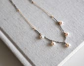 SALE- Mixed Pearl Drop Necklace- f.w. pearl, sterling silver, gold fill.