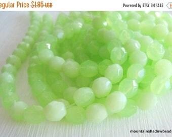 20% Summer SALE 25 Czech Faceted Round Beads - Milky Peridot - Czech Glass Beads (G - 339)