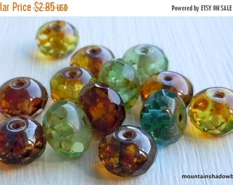 20% Summer SALE Czech Glass Beads 9x6mm Multi Color Picasso RETIRED - 12 (GG - 50)