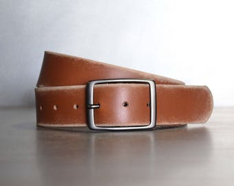 Distressed Brown Leather Belt by FosterWeld