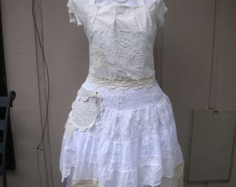 Womens Aprons - White Lace Aprons - Bridal Aprons - Annies Attic Aprons - Etsy Aprons - Shabby Chic Aprons - French Flea Market Chic Aprons