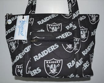Quilted Fabric Handbag Purse Oakland Raiders Football NFL