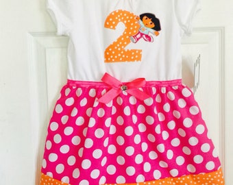 DORA the explorer inspired... Birthday girls dress outfit... children's clothes..