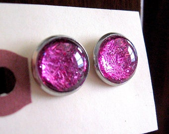 Be Dazzling - Hot Pink Shimmer Glass Post Stud Earrings - Hot Pink - shimmer earrings - Bitty Earrings - large