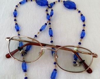Blue Beaded Eyeglass Lanyard Holder for Reading or Sun Eye Glasses