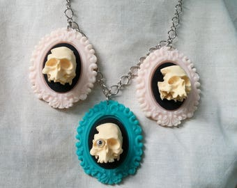 Pastel Sugary Skull Triple Skull And Cameo Necklace by Ugly Shyla OOAK - Handmade Jewelry - Skull Jewelry - Skull Necklace - Gothic Cameo