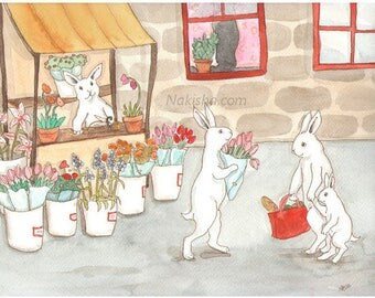 Flowers - Fine Art Rabbit Print