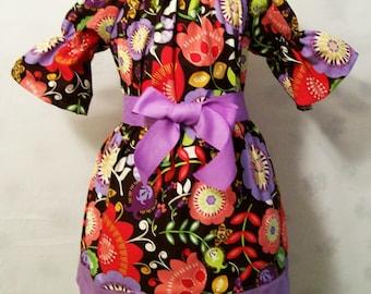 Girls Peasant Dress, Purple Floral Dress, Girls Dresses, Girls Clothing, Baby Toddler Girls Dress, Big Girls Dress, Made in the USA, #11