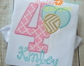 ON SALE Birthday Numbers with Balloons Applique Design 1-9 4x4, 5x7, 6x10, 8x8