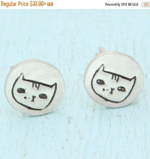 ON SALE Alice the CAT stud earrings, Illustration by Gemma Correll, eco-friendly silver. Handcrafted by Chocolate and Steel