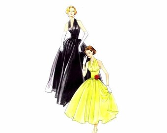 SALE Repro 1957 Misses Halter Dress Vogue 2962 Sewing Pattern Size 4 - 6 - 8 - 10 UNCUT