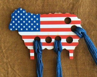 USA flag sheep thread keep embroidery floss organizer thread palette