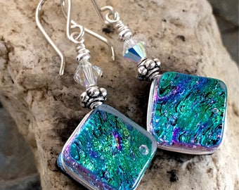 Dichroic Glass Earrings Pretty Green Rainbow Wire-Wrapped with Sterling Hooks