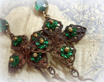 emerald isle one of a kind vintage assemblage earrings gingerbread brass filigree vintage emerald glass flowers and rhinestones