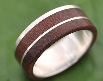 Size 11, 8mm  READY TO SHIP Un Lado Asi Wood Ring - ecofriendly wood wedding band, mens wood wedding ring, unique wooden ring