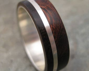 Size 9.75, 7mm READY TO SHIP Wolsticio Nacascolo, sustainable wood and recycled silver wood ring, wood wedding band, mens ring