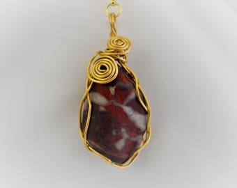 Red Jasper River Polished Pendant, Free Domestic Shipping, Wire Wrapped, Lobster Clasp, 19 inch Chain, BOHO, Modern, Gift for Her, Christmas