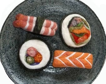 KIT SALE Needle Felted Sushi, Plush Wool Holiday, Christmas Ornaments, play food,  MTO, Set of Four,