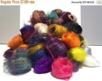 KIT SALE Needle Felting wool kit, roving, fiber Surprise Pack, remnant wool, grab bag wool, embellishment, mini batt, mini roving