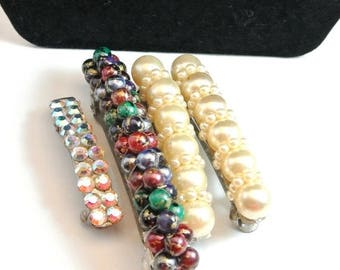 July 4th Sale Multiple Hair Clips Vintage Hair Barrettes Bead And Gem Hair Barrettes Metal Hair Clips