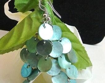 July 4th Sale Blue Shell Chandelier Earrings Vintage Aqua Shell Earrings Abalone Shell Dangle Earrings French Hook Earrings