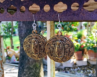 Gold Embossed Guadalupe Earrings