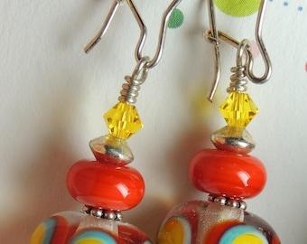 HAPPY Handmade Lampwork Bead Dangle Earrings