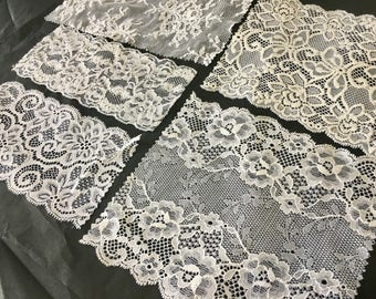 assortment of various smaller sheer lingerie tulle lace / mesh swatches — snow white (medium / wide)  — different sizes and patterns