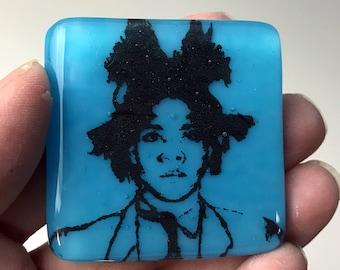Basquiat Fused Glass Magnet, Artist Magnet, Blue Glass Refrigerator Magnet, Basquiat Black Printed Magnet