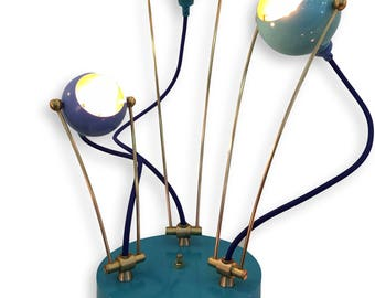 3 Light Lilac and Teal  Fiesta Metal Mid Century Table Desk Bedside Lamp Light Handmade w Color Cord