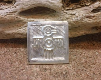 Stylized Thunderbird Totem Pendant Solid Fine Silver Native American Petroglyph