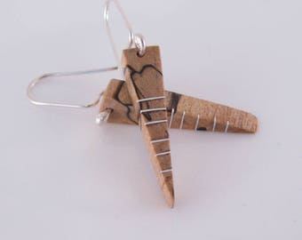 Spalted Maple and Silver Inlay Arrow Earrings