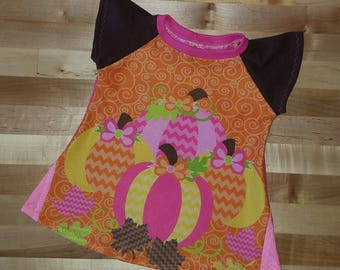 Handmade Toddler Girl Fall Pumpkins tunic! Top! Size 2T. Bee Comfy Clothing!