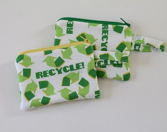 pocket wallet, change purse, mini zipper pouch, earbud pouch, business card holder, green recycle logo bag, id holder, small bag, coin purse