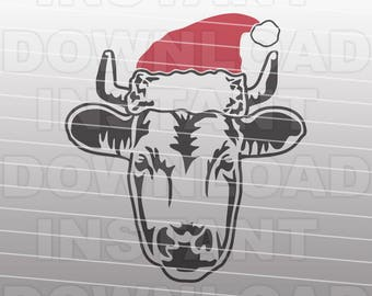 Country Christmas SVG File,Cow with Santa Hat SVG,Stock Show svg -Commercial & Personal Use- Vector art for Cricut,Silhouette Cameo,vinyl