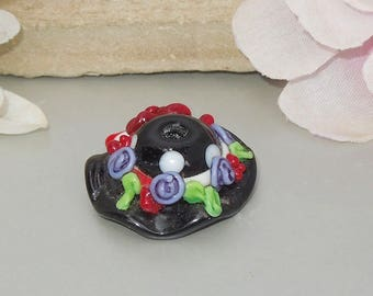 SALE! Handmade Lampwork Glass  Artisan Black Red Hat Focal-Bastets Beads SRA-Party Hat