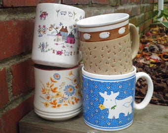 4 Vintage Farmhouse Coffee Cups / Mugs - Mixed Mug Lot - Retro Stoneware Cup Collection 1970s - 80s - Country Cottage Farm Cow & Sheep Gift