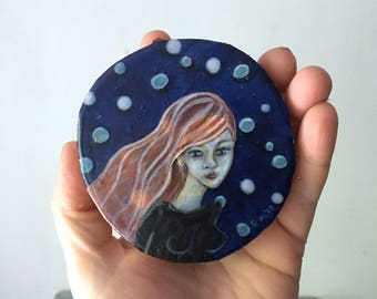 Original portrait, pink hair, teen girls, Scattering stars like dust, tiny original, home decor, shellieartist, wood slice, original artwork