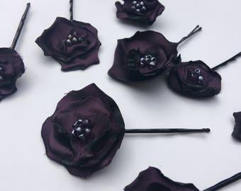 3 Purple Flower Hair Pins