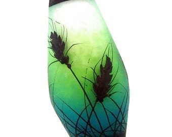 Wheat silhouettes on bright aqua apple fade, handmade lampwork glass bead focal by JC Herrell