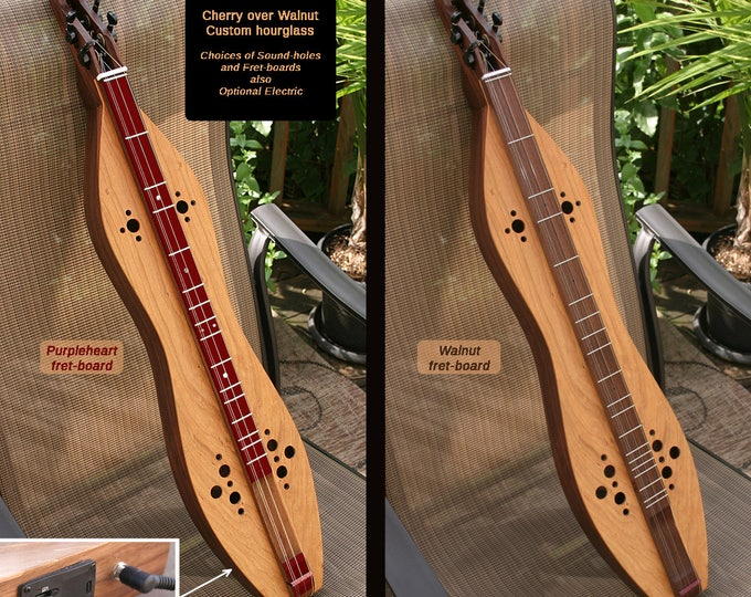 Custom Cherry/Walnut Hour-glass Mountain Dulcimer, 4-string, with fret-board and sound-holes choices