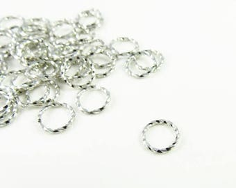Summer Sale 10mm Brass Twisted Jump Rings in Silver - 50 Pieces - 0606WH
